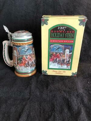 """1997 BUDWEISER Holiday BEER STEIN IN BOX W/LID 8"""" Tall"""