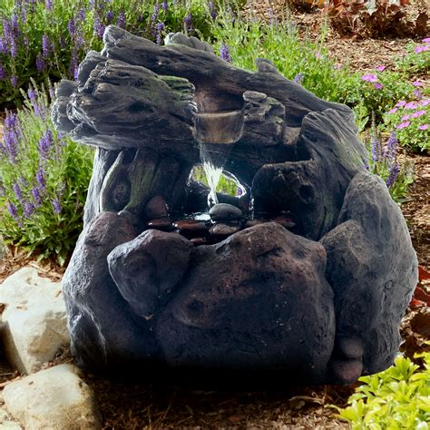 Pure Garden LED Lighted Outdoor Rockery Fountain with Pump