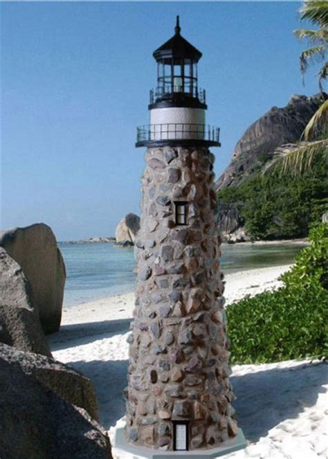 Stone Lawn Lighthouse with Working Lights