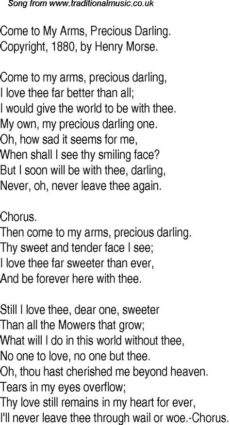 Old Time Song Lyrics for 16 Come To My Arms, Precious Darling