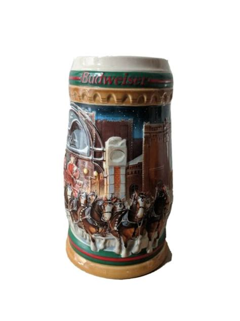 """1997 Budweiser Holiday Stein 7"""" Home For The Holidays 