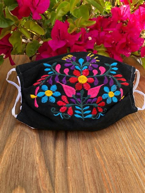 """"""" Fabiola """" Mexican Embroidered Face Mask ( Black ) - El"""